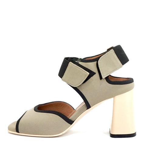 Marni Taupe & Black Chomp 80 Techno Block Heel Sandals 36.5