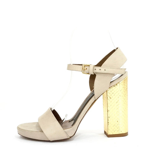Marni Beige Leather Gold Block Heel Sandals 37