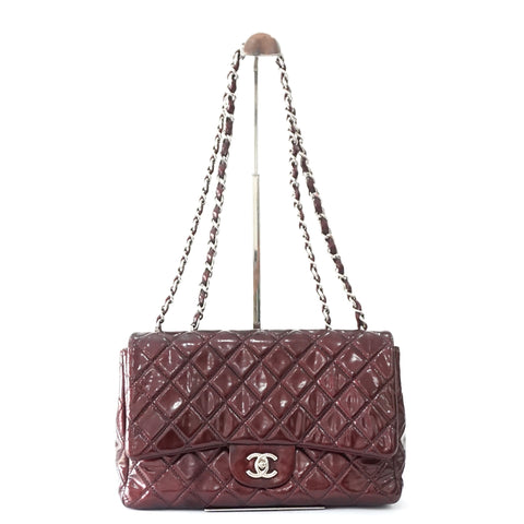 Chanel Maroon Patent Leather Jumbo Flapbag