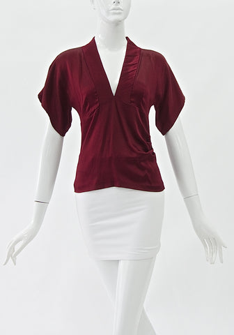 DVF Maroon Satin Top (Size S)