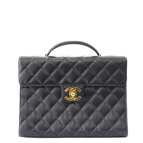 Chanel Black Caviar Vintage Briefcase