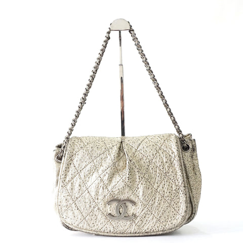 Chanel Metallic Grey Rock and Chain Bag