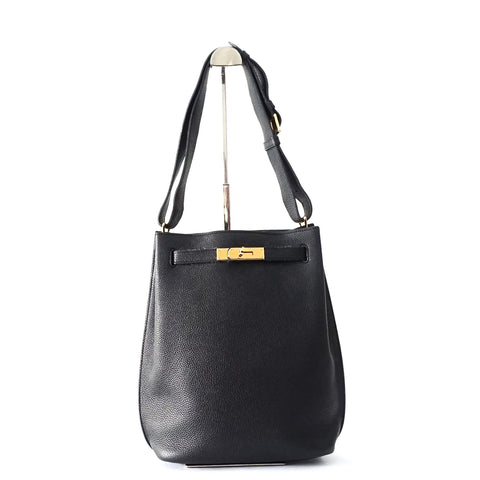 Hermes So Kelly 26 Black Togo GHW