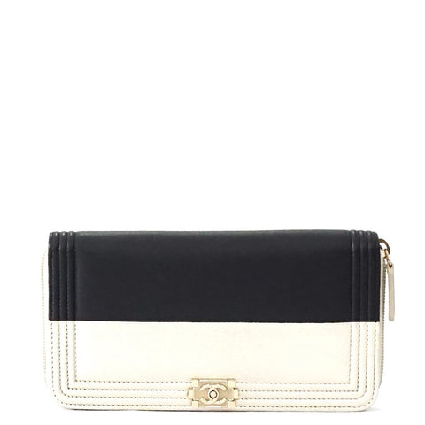 Chanel Bicolor Black Champagne Zip Wallet