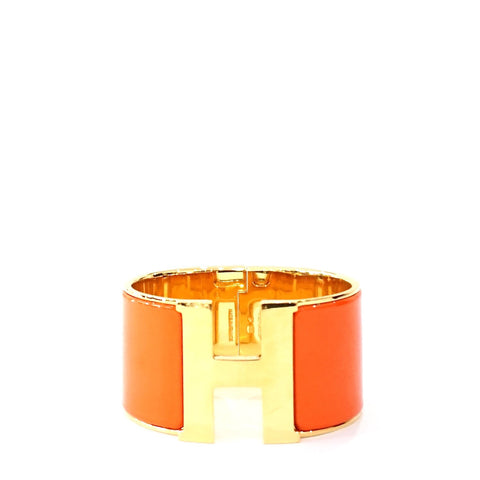 Hermes Orange Gold Hardware Clic Clac Wide Bracelet