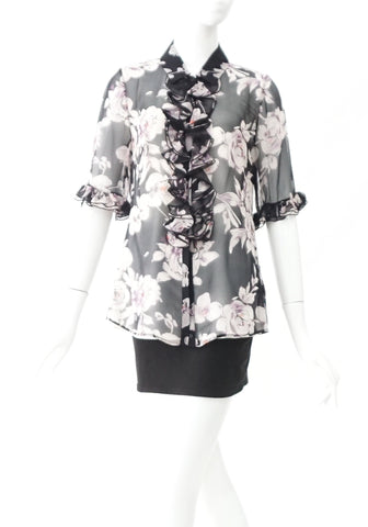 Anne Fontaine Floral Chiffon Tops 38