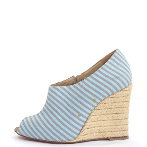 Christian Louboutin Blue Stripe Espadrilles Booties 38