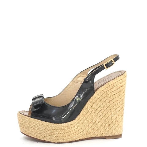 Kate Spade Black Patent Bow Wedges 7