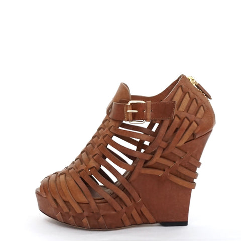 Givenchy Brown Leather Woven Wedges 38