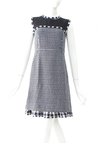 Tory Burch Black Blue Tweed Sleeveless Dress 2
