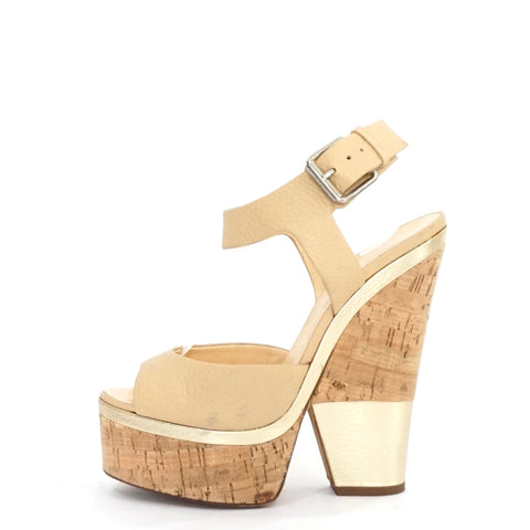 Guiseppe Zanotti Cork Nude Ankle Sandals 38.5