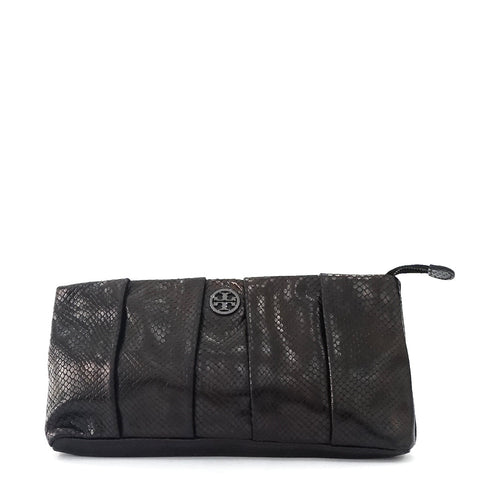 Tory Burch Black Python Clutch