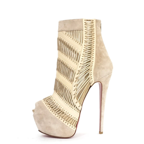 quality design 3df71 1ca14 Christian Louboutin Nude Stitch Me 160mm Suede Booties 38.5