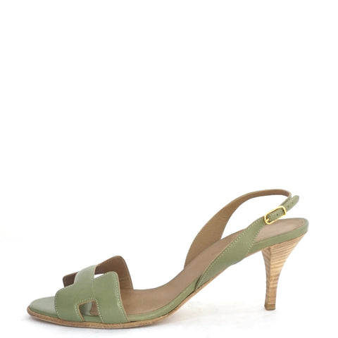 Hermes Green Kitten Heel Oran Sandals 38.5