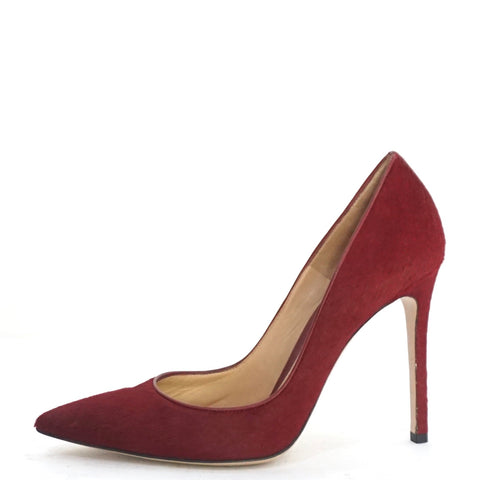 Gianvito Rossi Red Pony Hair Pointy Heels 38