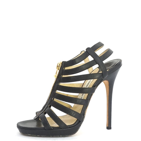 Jimmy Choo Black Gladiator Sandals 38