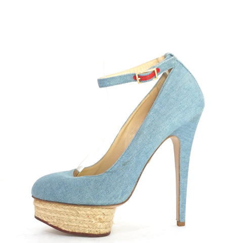 Charlotte Olympia Dolores Denim Detailed Espadrille Pumps 38.5