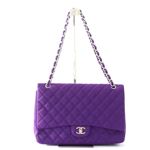 Chanel Purple Jersey Maxi Flapbag