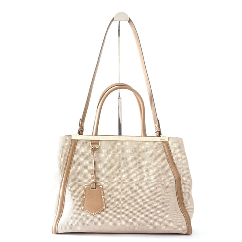 Fendi Two Jours Beige Toile Bag