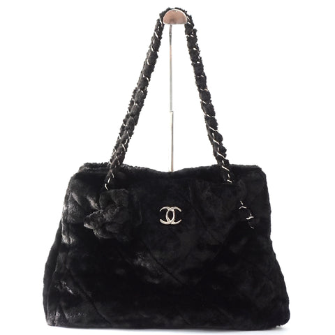 Chanel Fur Black Tote Bag