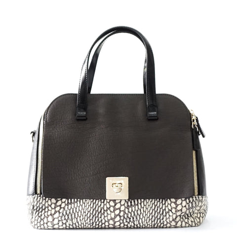 Furla Black White Calf- Faux Python Tote Bag
