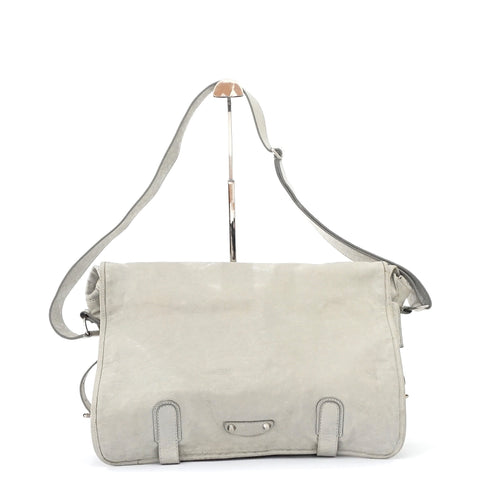 Balenciaga Soft Grey Lamb Leather Postman Bag