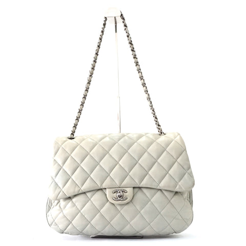 Chanel Light Grey Lambskin Quilted 3 Flap Bag