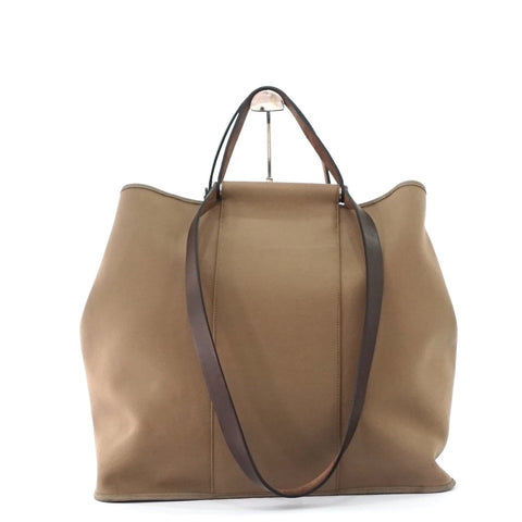 Hermes Light Brown Cabag Canvas Tote Bag