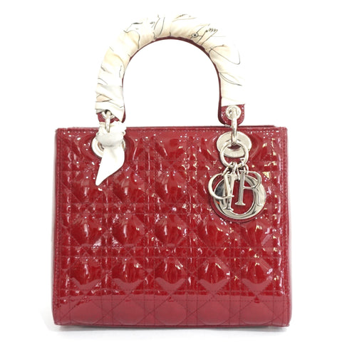 Christian Dior Patent Oxblood Medium Lady Dior Bag