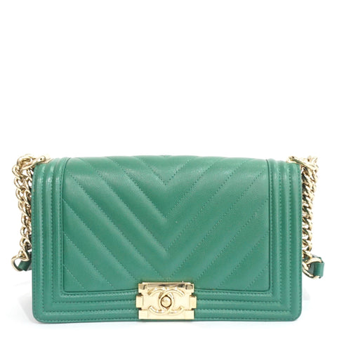 Chanel Green Caviar Chevron Old Medium Boy Bag GHW