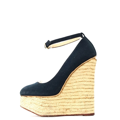 Charlotte Olympia Navy Canvas Espadrille Wedge Pumps 38.5