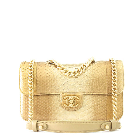 Chanel Gold Python Flap Bag