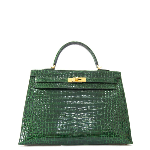 Hermes Kelly 35 Vert Emerald Shiny Porosus GHW PRICE BY REQUEST