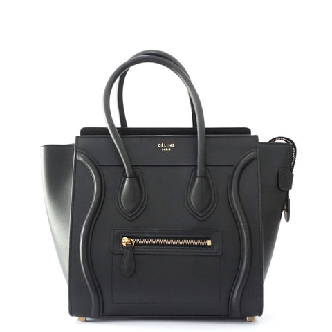Celine Black Smooth Micro Luggage Bag