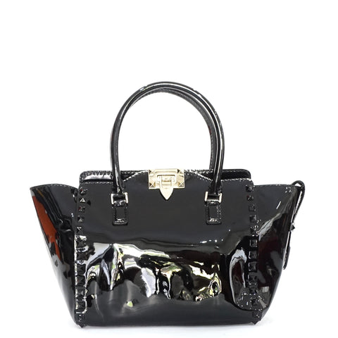 Valentino Black Patent Leather Black Rockstud Trapeze Bag