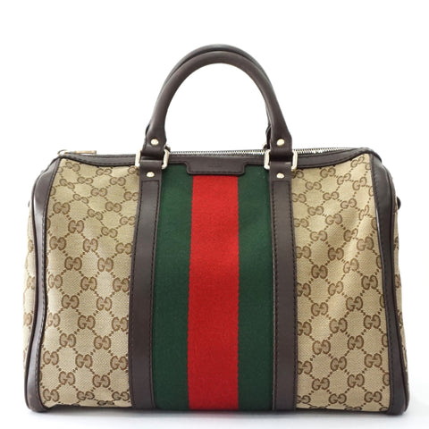 Gucci Monogram Brown Red Green Boston Bag