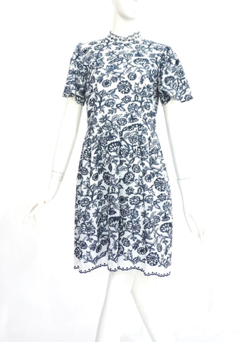 Michael by Michael Kors White and Blue Embroidered Dress 4