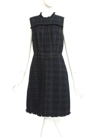 Tory Burch Black Metallic Sleeveles Tweed Dress 4