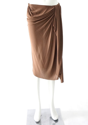 Lanvin Brown Wrapped Skirt 38