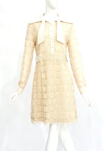 Max&Co. Beige Lace Long-Sleeved Dress US 4