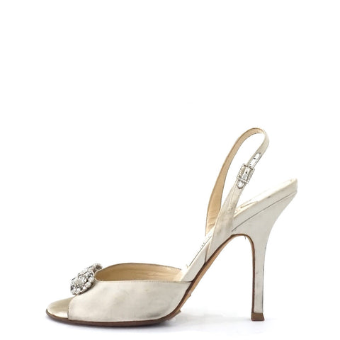 Jimmy Choo Silver Evening Sandals 35.5