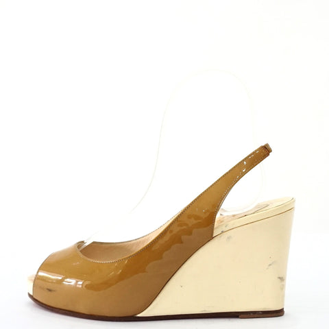 Christian Louboutin Mustard Patent Wedges 36.5