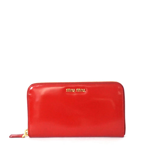 Miu Miu Read Leather Zip-Around Wallet