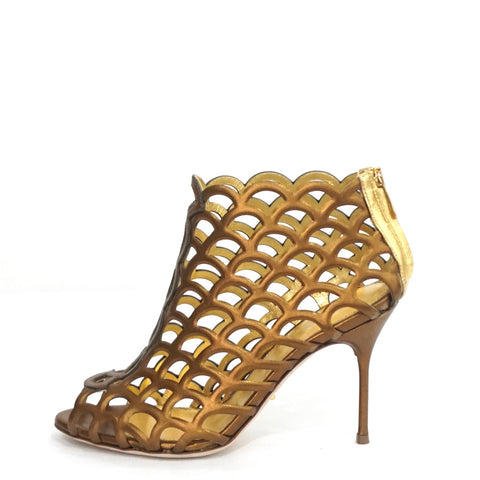 Sergio Rossi Gold Leather Mermaid Ankle Boots 36