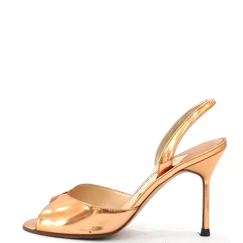 Manolo Blahnik Bronze Sandals 36.5