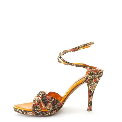 Sergio Rossi Multicolor Gold Sandals 38
