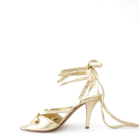 Sergio Rossi Gold Strappy Sandals 38