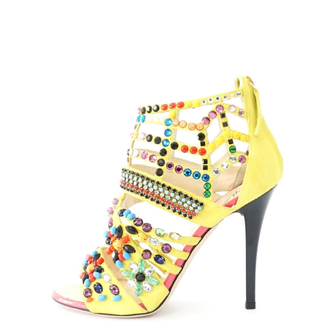 Giuseppe Zanotti Yellow Beaded Sandals 36