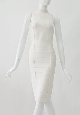 Herve Leger Off White Turtle Neck Dress XS