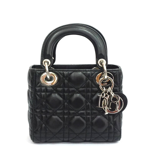 Christian Dior Black Lambskin Micro Lady Dior Bag